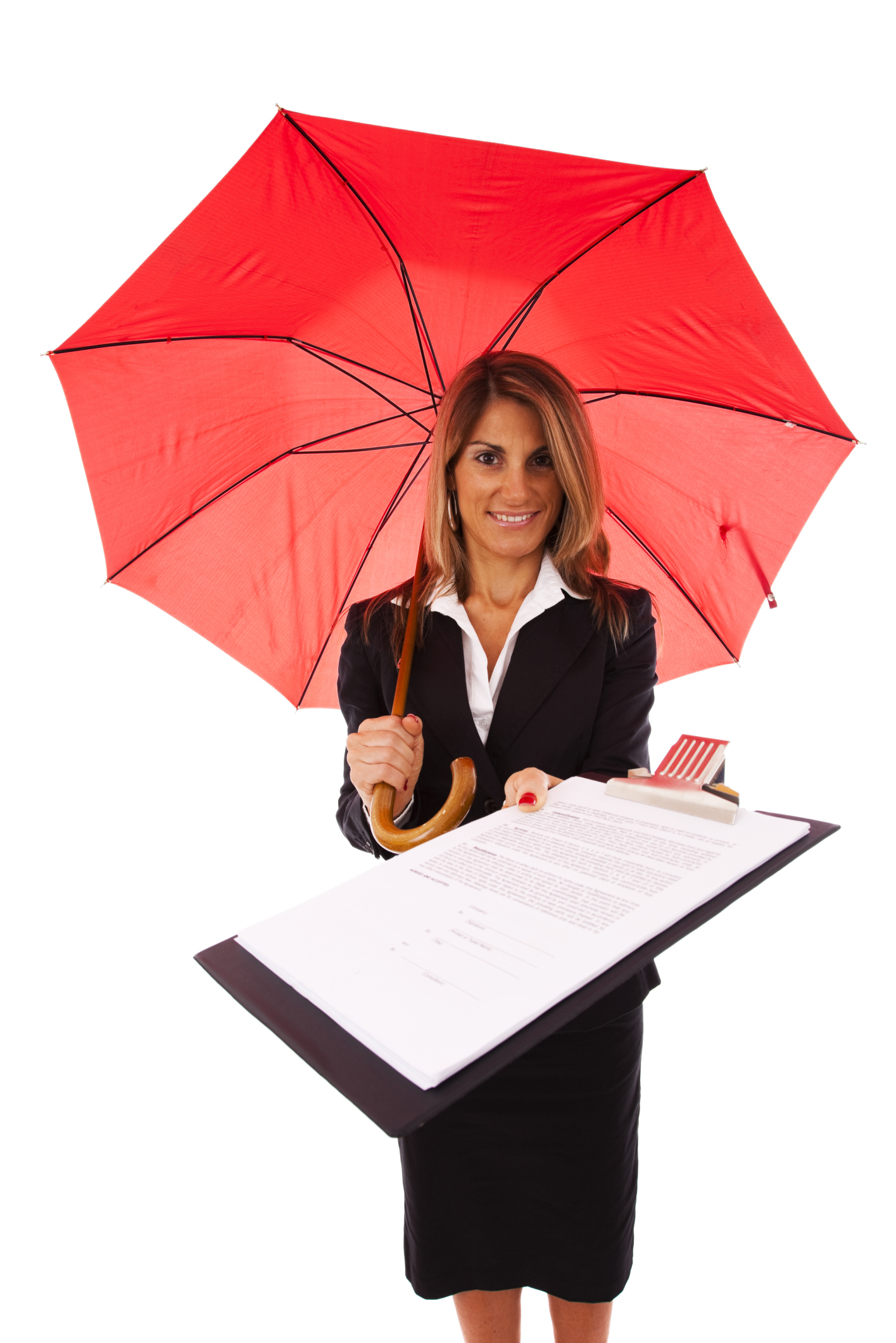 woman holding a red umbrella and clipboard