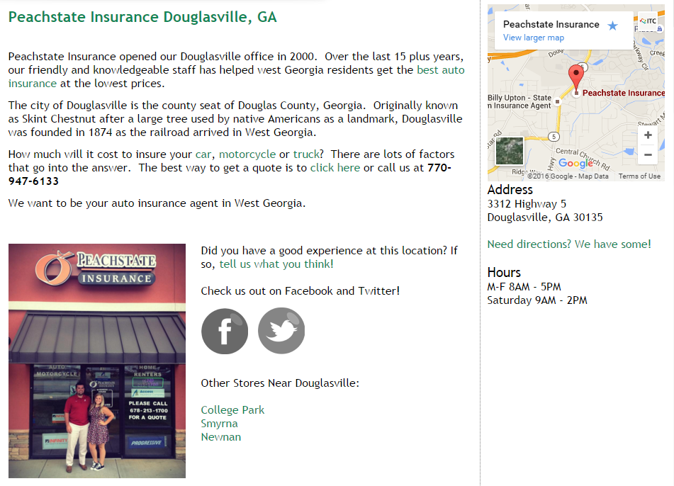 Peachstate Insurance Location Page