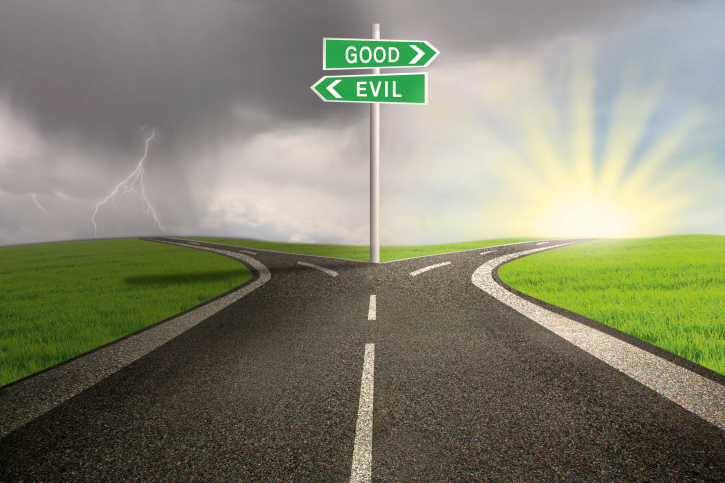 good and evil street signs