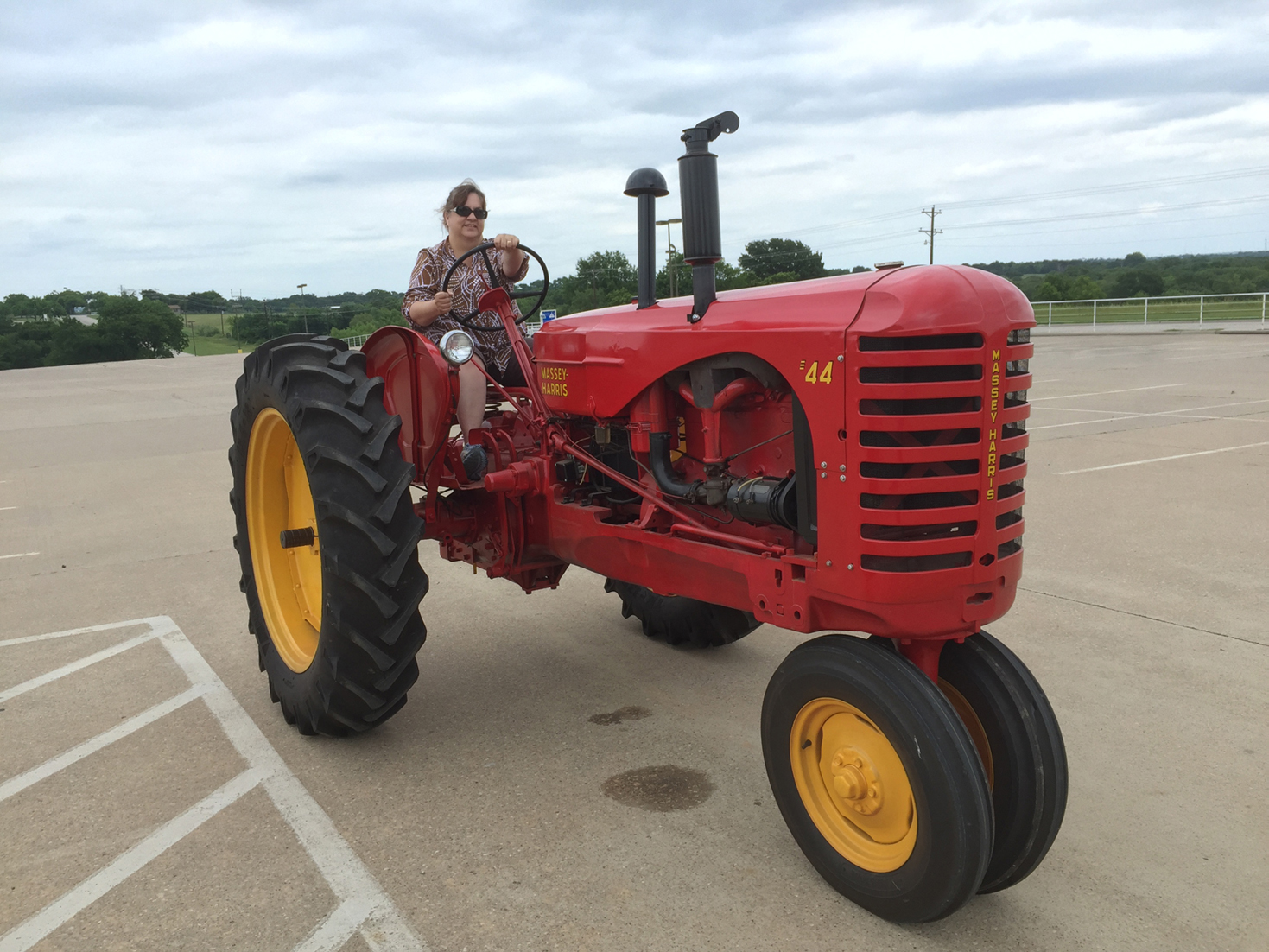 AnMarie on a tractor